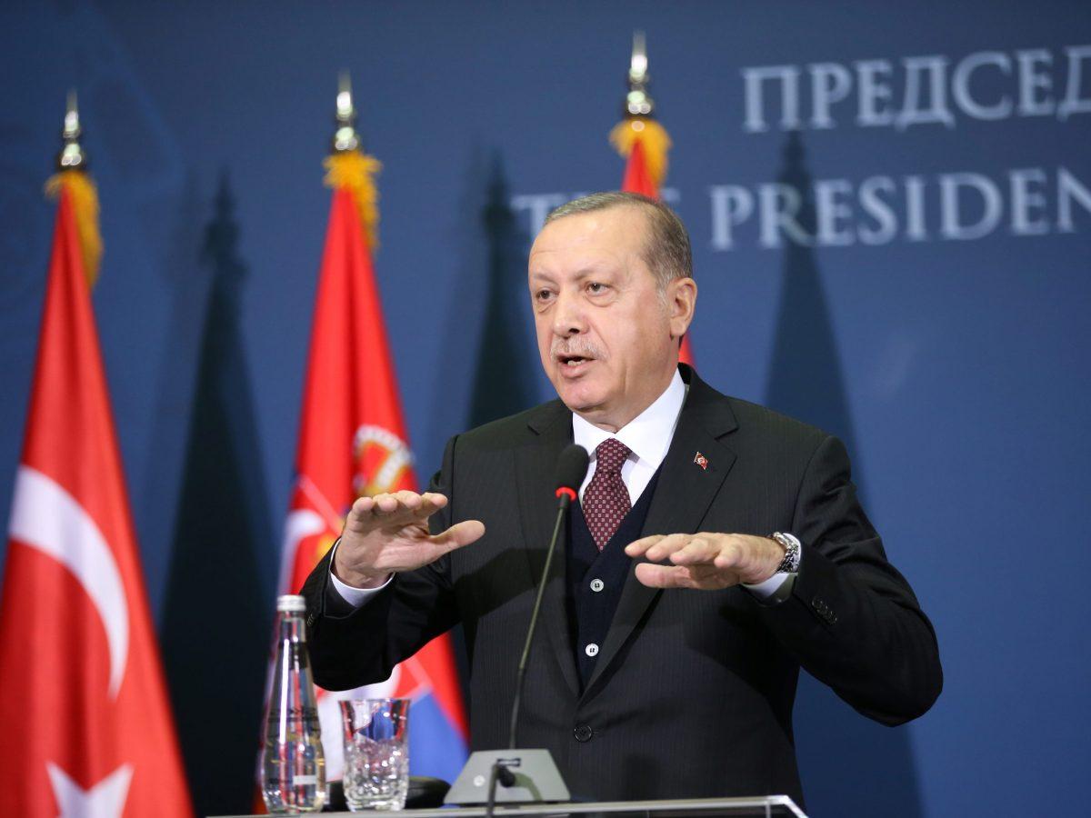 Turkish President Recep Tayyip Erdogan speaks during a joint press conference with Serbia's President Aleksandar Vucic, on October 10, 2017. Photo: Reuters / Marko Djurica