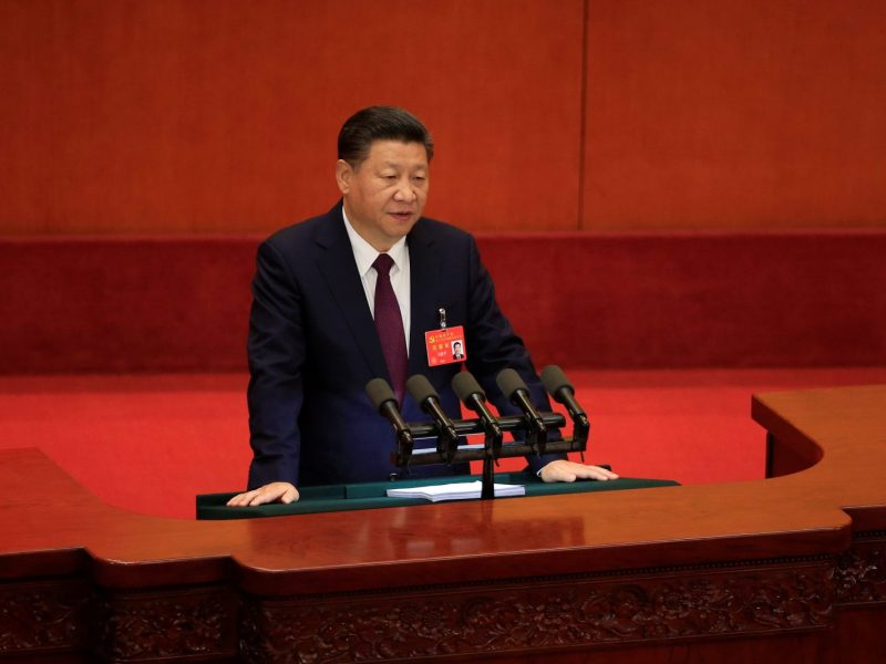 Xi Jinping speaks during the opening session of the 19th National Congress of the Communist Party of China. Photo: Reuters / Aly Song