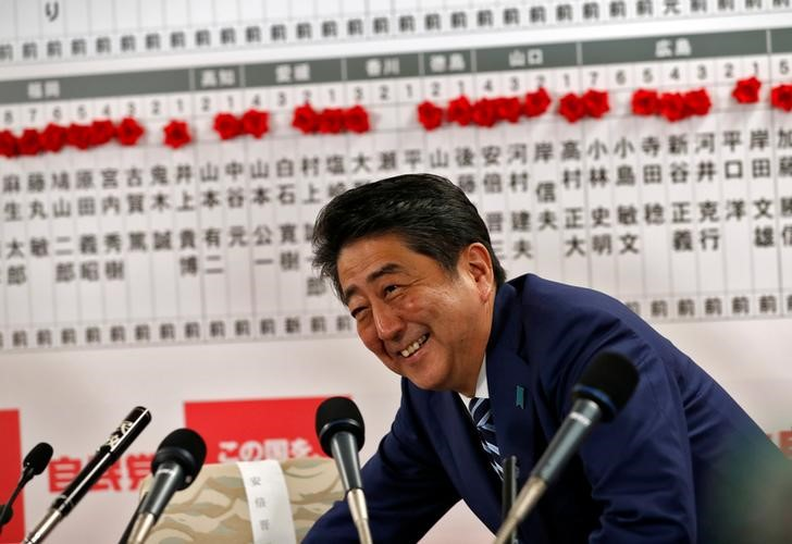 Japan's Prime Minister Shinzo Abe smiles during a news conference. Photo: Kim Kyung-Hoon/Reuters
