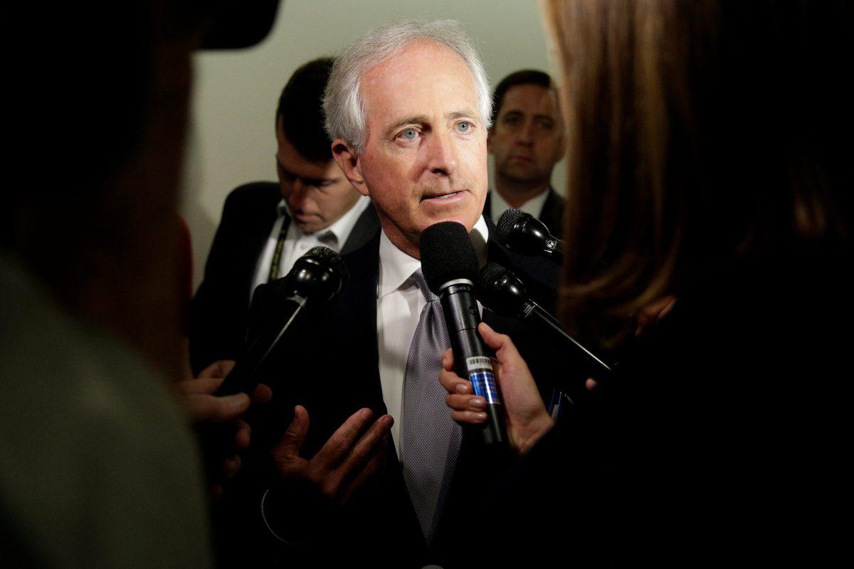 Republican Senator Bob Corker speaks to reporters on Capitol Hill. Photo: Reuters/Joshua Roberts