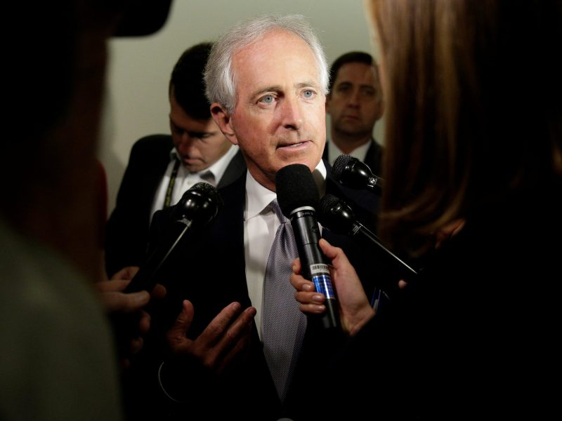 Republican Senator Bob Corker speaks to reporters on Capitol Hill. Photo: Reuters/Joshua Roberts