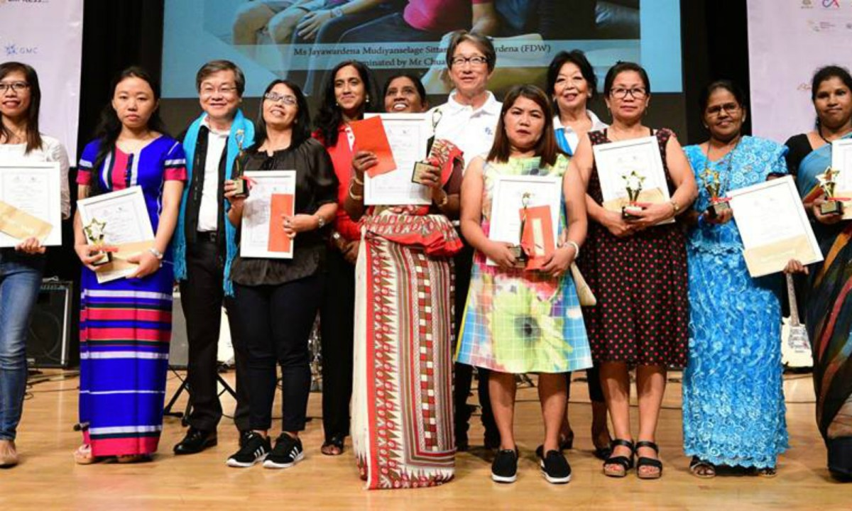 Finalists and winners of Foreign Domestic Worker of the Year awards organized by the Foreign Domestic Worker Association for Social Support and Training. Photo: Facebook / Singapore Ministry of Manpower