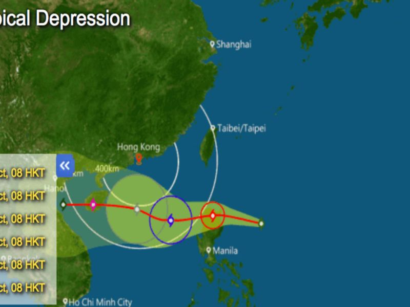 Potential track of Khanun. Photo: Hong Kong Observatory