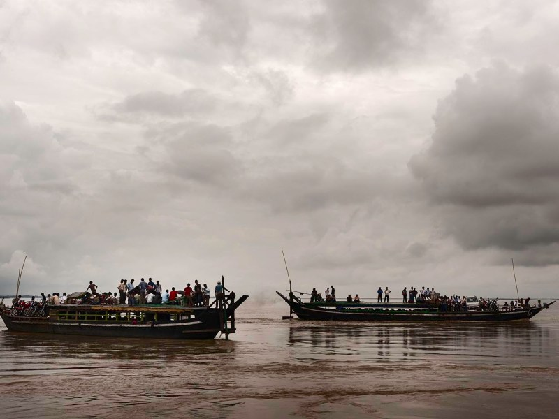 Public ferries cross the Brahmaputra river for Majuli island near Jorhat, Assam, India. This shot was taken towards the end of the monsoons. Photo: iStock