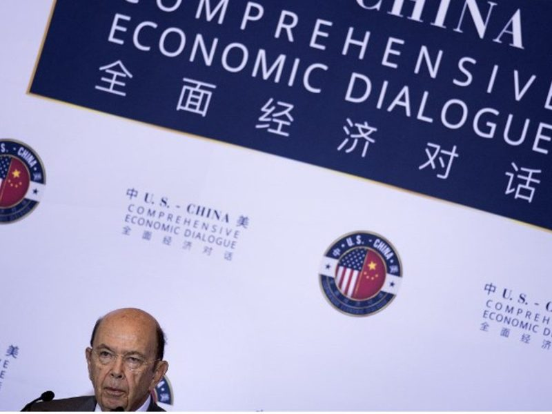 US Secretary of Commerce Wilbur Ross speaks during the US and China comprehensive Economic Dialogue in Washington. Photo: AFP/Brendan Smialowski