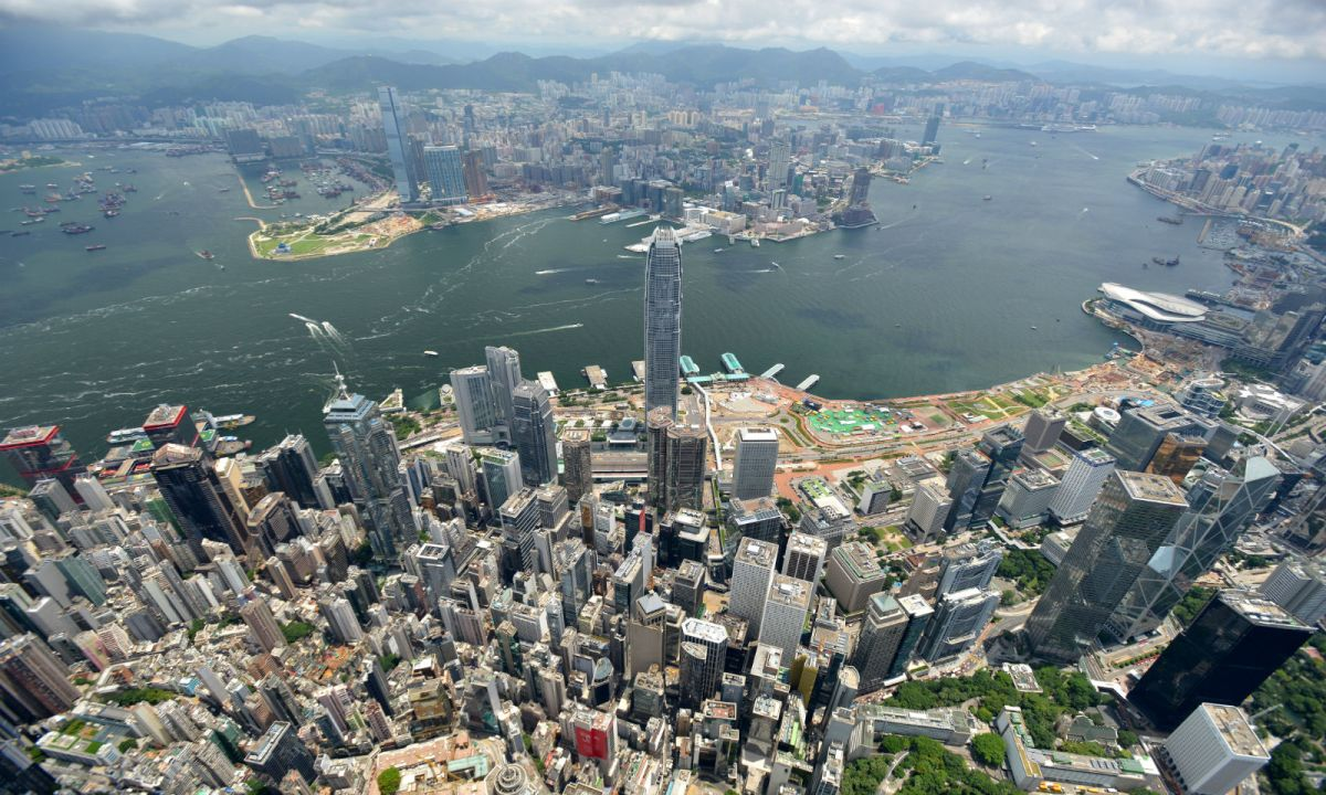 A view down to the sea from Hong Kong Island. Photo: HK Government