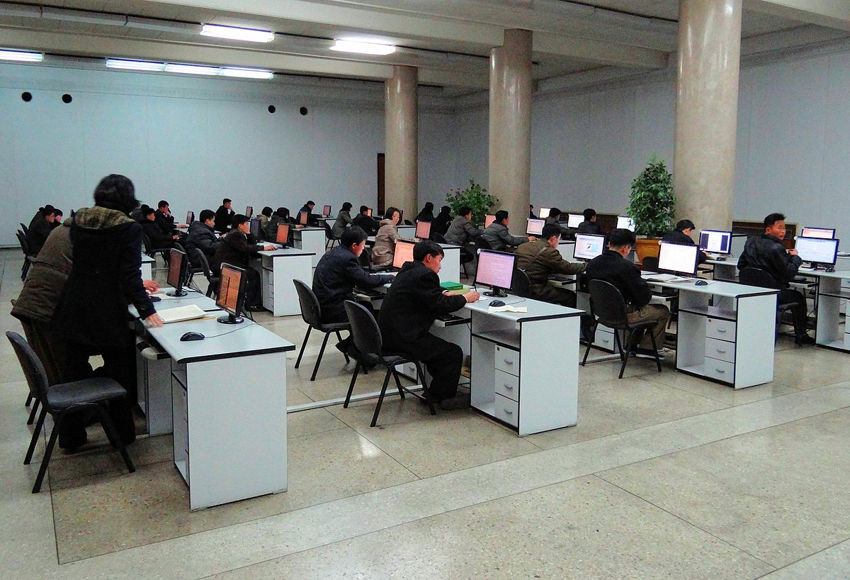 A computer room equipped with access to Kwangmyong at the Grand People's Study House in Pyongyang. Photo: Wikipedia
