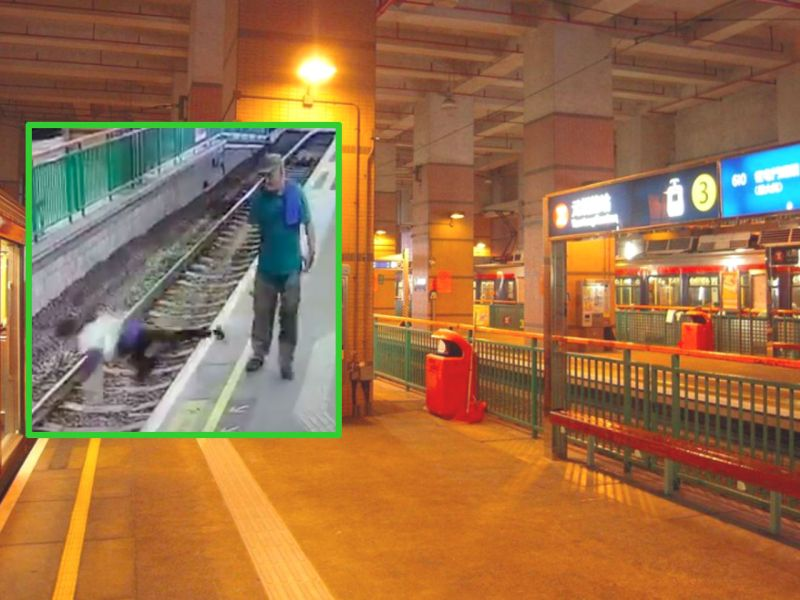 Yuen Long light-rail stop with a photo (inset) of the man pushing the woman on the rail tracks. Photo: Wikipedia, Facebook