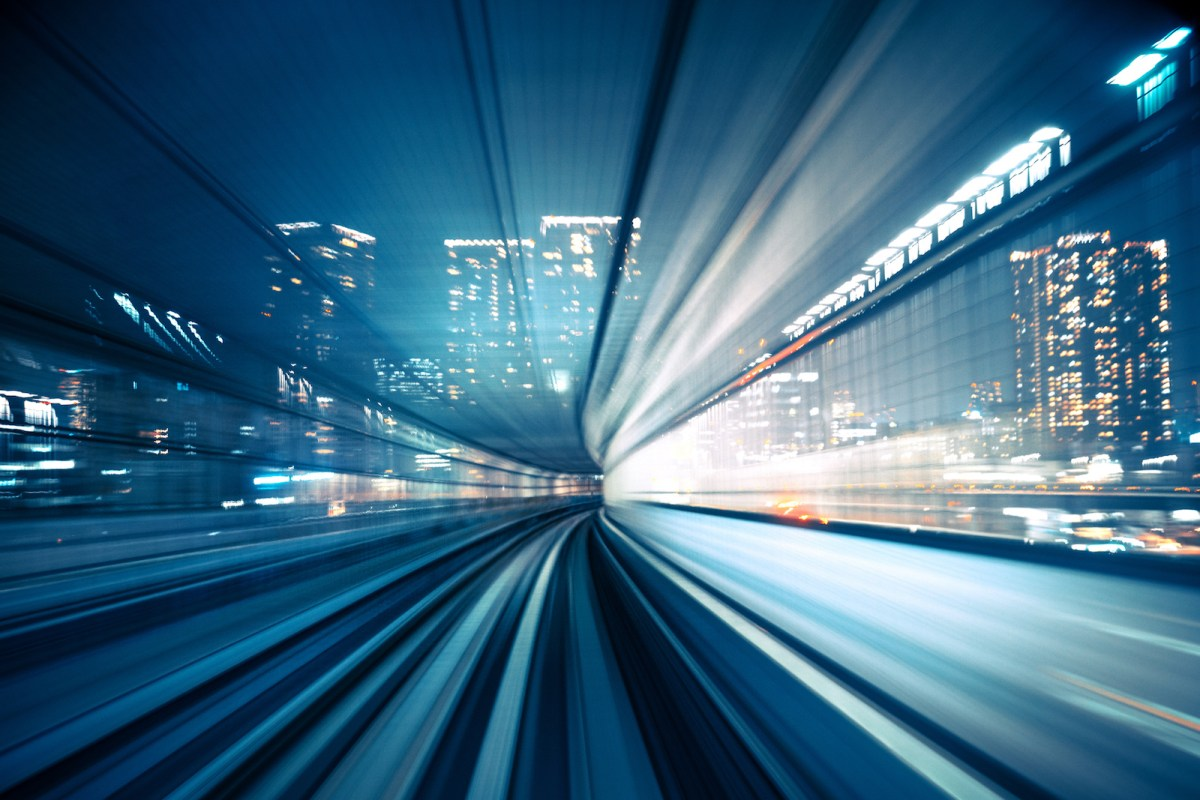 An abstract motion-blurred view from the front of a train in Tokyo, Japan. Photo: iStock/Getty Images