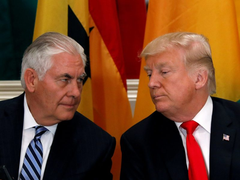 Donald Trump's now former Secretary of State confers with the president in October 2017. Photo: Reuters