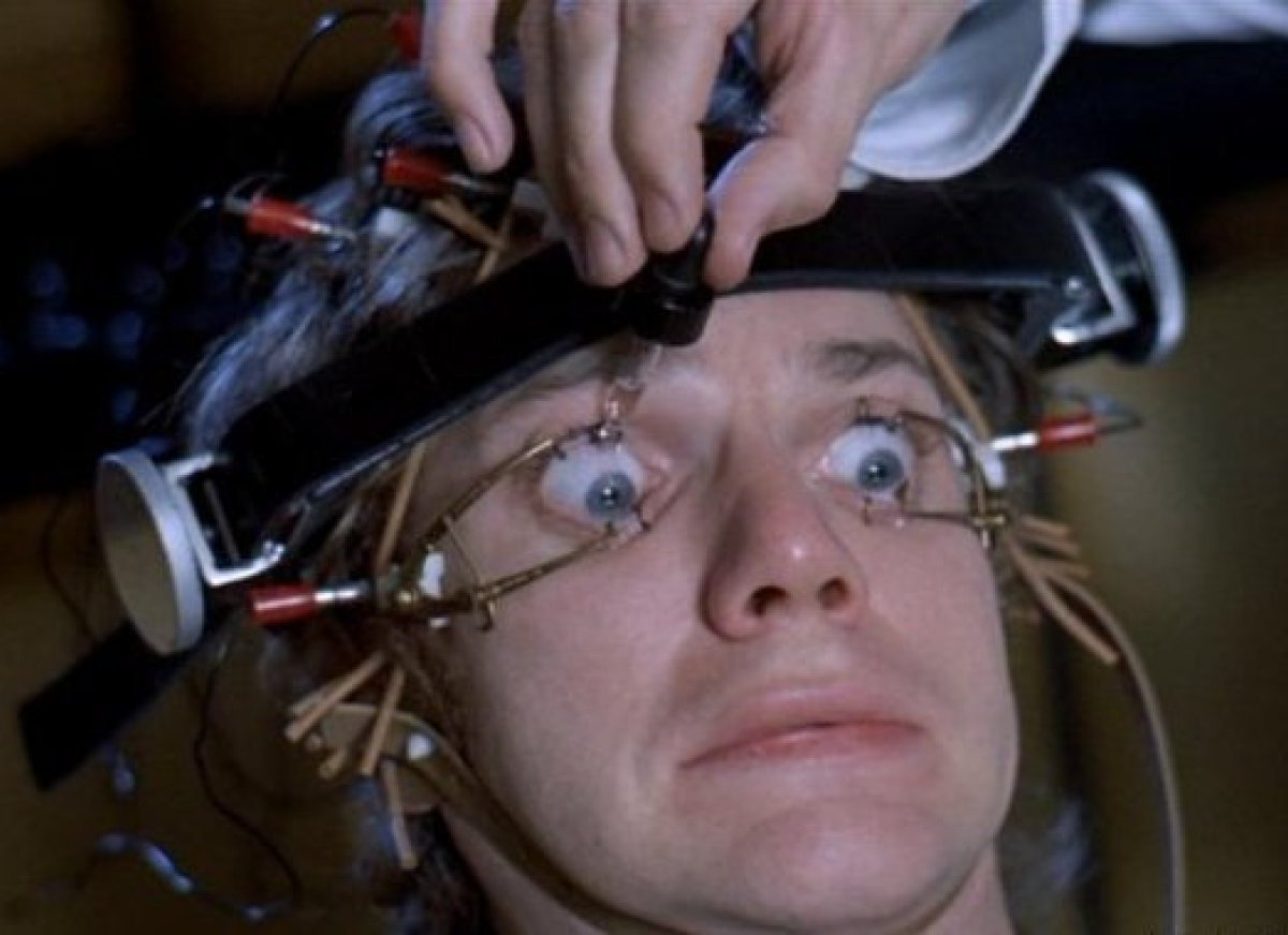 Alex (Malcolm McDowell) undergoes brainwashing in Stanley Kubrick's A Clockwork Orange.