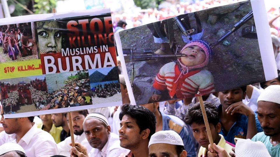 Pro-Rohingya protesters in New Delhi on September 21. Photo: Hindustan Times