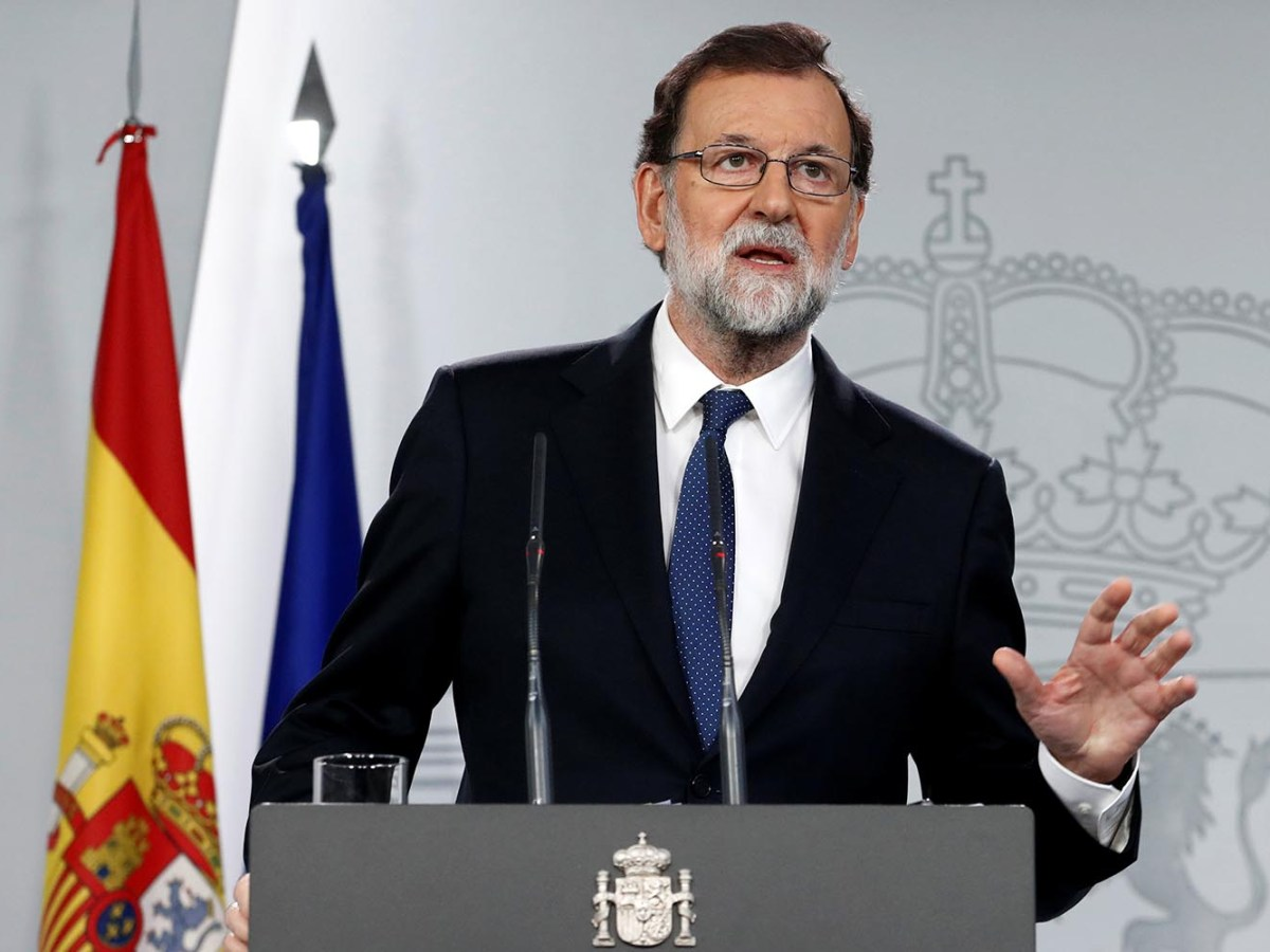 Spain's Prime Minister Mariano Rajoy discusses the removal of the Catalan government during a press conference at the Moncloa Palace in Madrid, on October 21, 2017. Photo: Reuters / Juan Medina