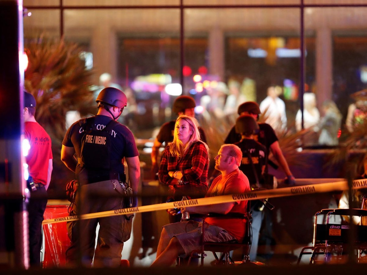 People wait in a medical staging area on Oct. 2, 2017, after the mass shooting during a music festival in Las Vegas. Photo: Reuters/Las Vegas Sun/Steve Marcus