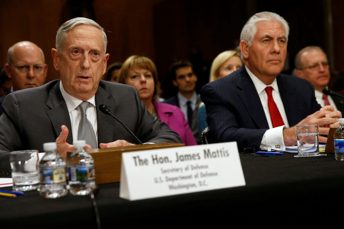 US Defense Secretary James Mattis and Secretary of State Rex Tillerson testify about authorizations for the use of military force before the Senate Foreign Relations Committee on Capitol Hill. Photo: Reuters/Jonathan Ernst
