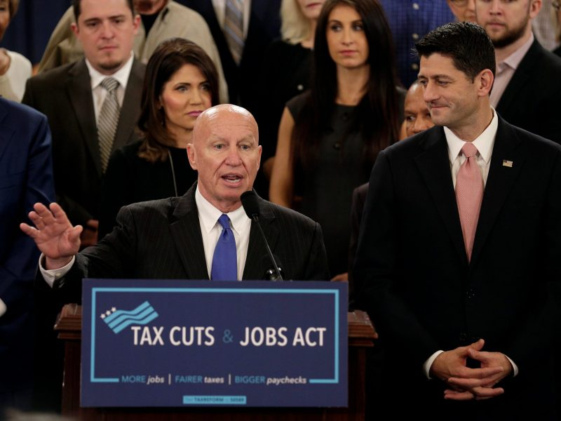 Chairman of the House Ways and Means Committee Kevin Brady and Speaker of the House Paul Ryan unveil legislation to overhaul the tax code. Photo: Reuters/Joshua Roberts