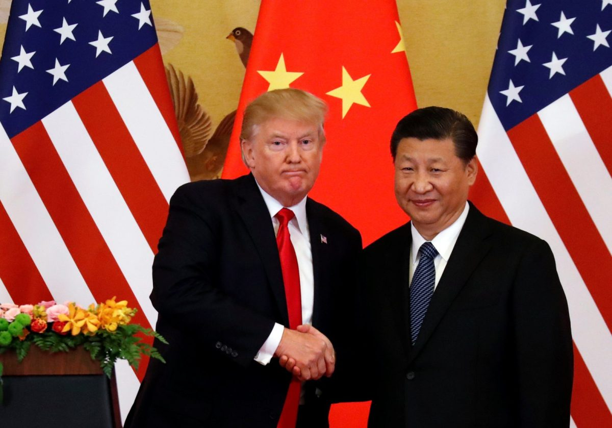 US President Donald Trump and China's President Xi Jinping make joint statements at the Great Hall of the People in Beijing, China, on November 9, 2017. Photo: Reuters / Damir Sagolj