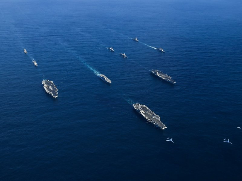 US carrier strike group Ronald Reagan, Theodore Roosevelt and Nimitz transit the Western Pacific with ships from the Japanese Maritime Self-Defense Force on November 12, 2017. Anthony Rivera/US Navy via Reuters
