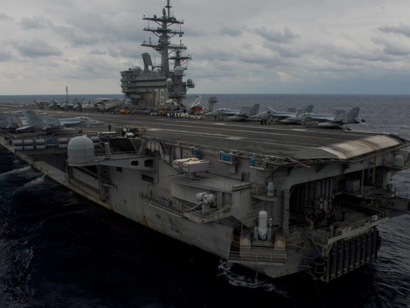 The aircraft carrier USS Ronald Reagan is pictured in the Philippine Sea on November 20, 2017. Photo: Mass Communication Specialist 2nd Class Kenneth Abbate / US Navy handout via Reuters