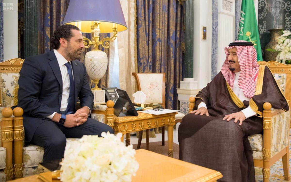 Saudi Arabia's King Salman bin Abdulaziz Al Saud meets with former Lebanese Prime Minister Saad al-Hariri in Riyadh, Saudi Arabia on November 6, 2017. Photo: Saudi Press Agency / Handout via Reuters