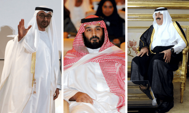 Left to right: Mohammed bin Zayed Al Nahyan, Mohammed bin Salman and Prince Mutaib bin Abdullah. Photos: Reuters, AFP