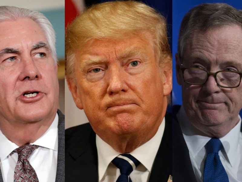 US Secretary of State Rex Tillerson, President Donald Trump and US Trade Representative Robert Lighthizer. Photos: Reuters/AFP/Asia Times