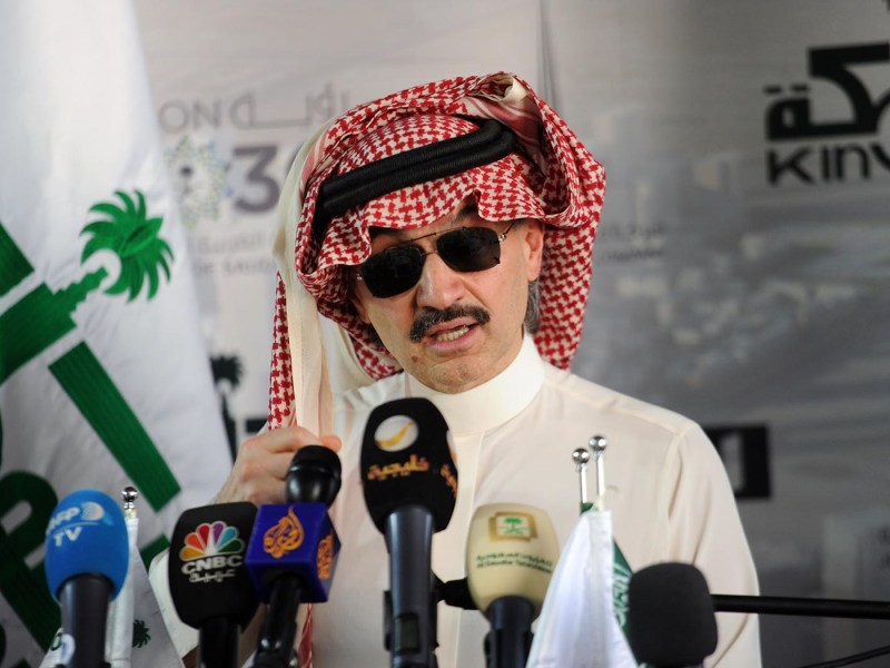 Saudi Prince Alwaleed bin Talal speaks at a press conference on May 11, 2017. Shares of Al-Waleed's Kingdom Holding dropped 9.9% on November 5, 2017. Photo: AFP / Amer Hilabi