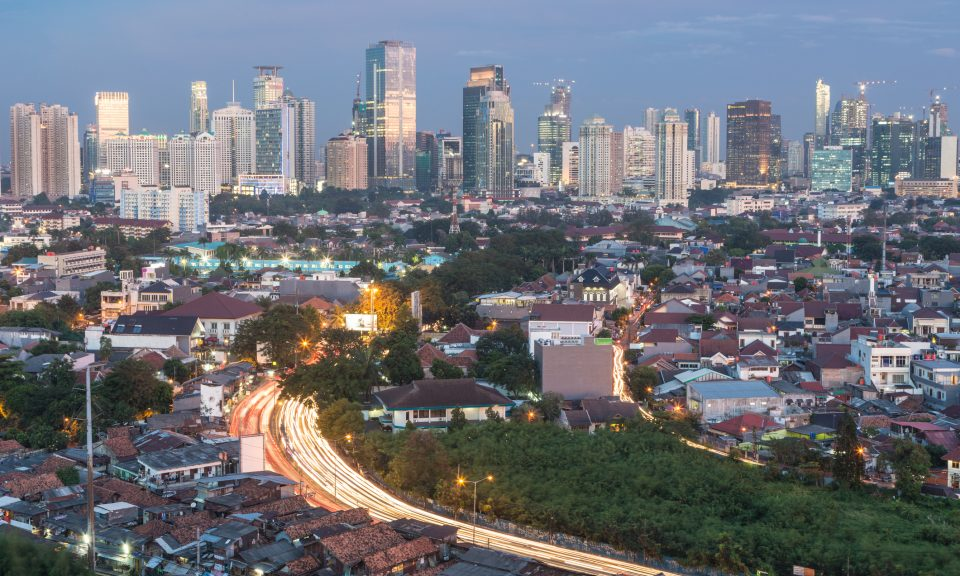 The Indonesia capital Jakarta is a mix of modern buildings with village-like housing structures right in the center of the city. Photo: iStock