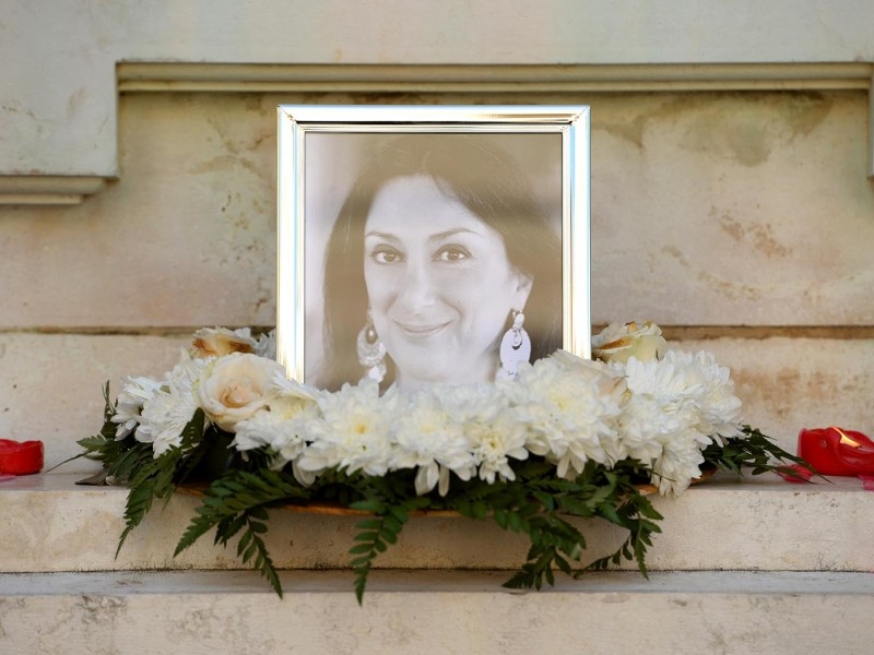 The Great Siege monument in Valletta, Malta, which was turned into a temporary shrine for Maltese journalist Daphne Caruana Galizia. Photo: AFP/ Matthew Mirabelli