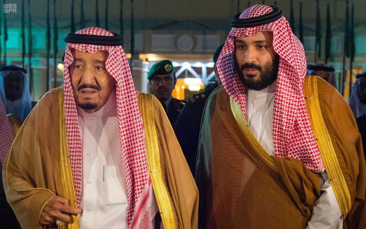 Saudi Arabia's King Salman with his son, Crown Prince Mohammed bin Salman, in Riyadh on November 8, 2017. Photo: Reuters/Saudi Press Agency