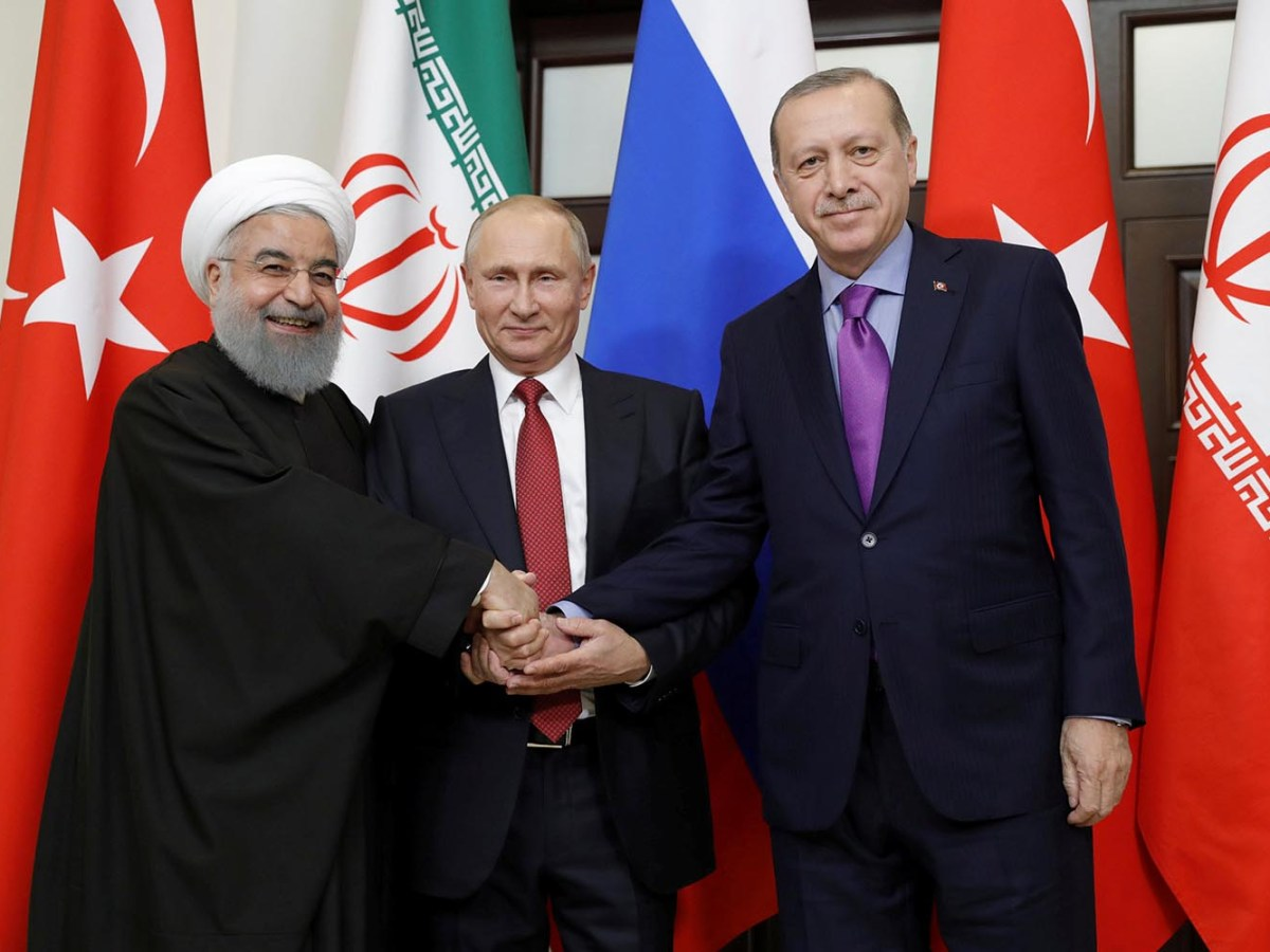 Iran's President Hassan Rouhani, Russia's Vladimir Putin and Turkey's Recep Erdogan meet in Sochi, Russia. Photo: Sputnik / Mikhail Metzel via Reuters