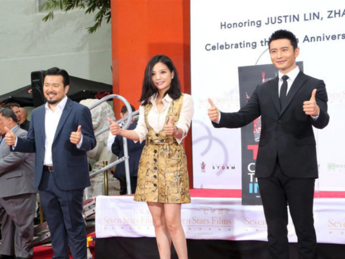Zhao Wei (center) is seen with other celebrities at a handprint ceremony in Hollywood in 2015. Photo: Xinhua