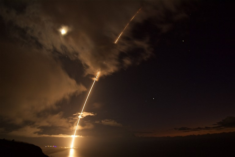 A medium-range ballistic missile target is launched from the Pacific Missile Range Facility in Kauai, Hawaii, during a test of a missile interception system Japan is seeking to bolster its defense against North Korea. Photo: US Navy via AFP/Latonja Martin