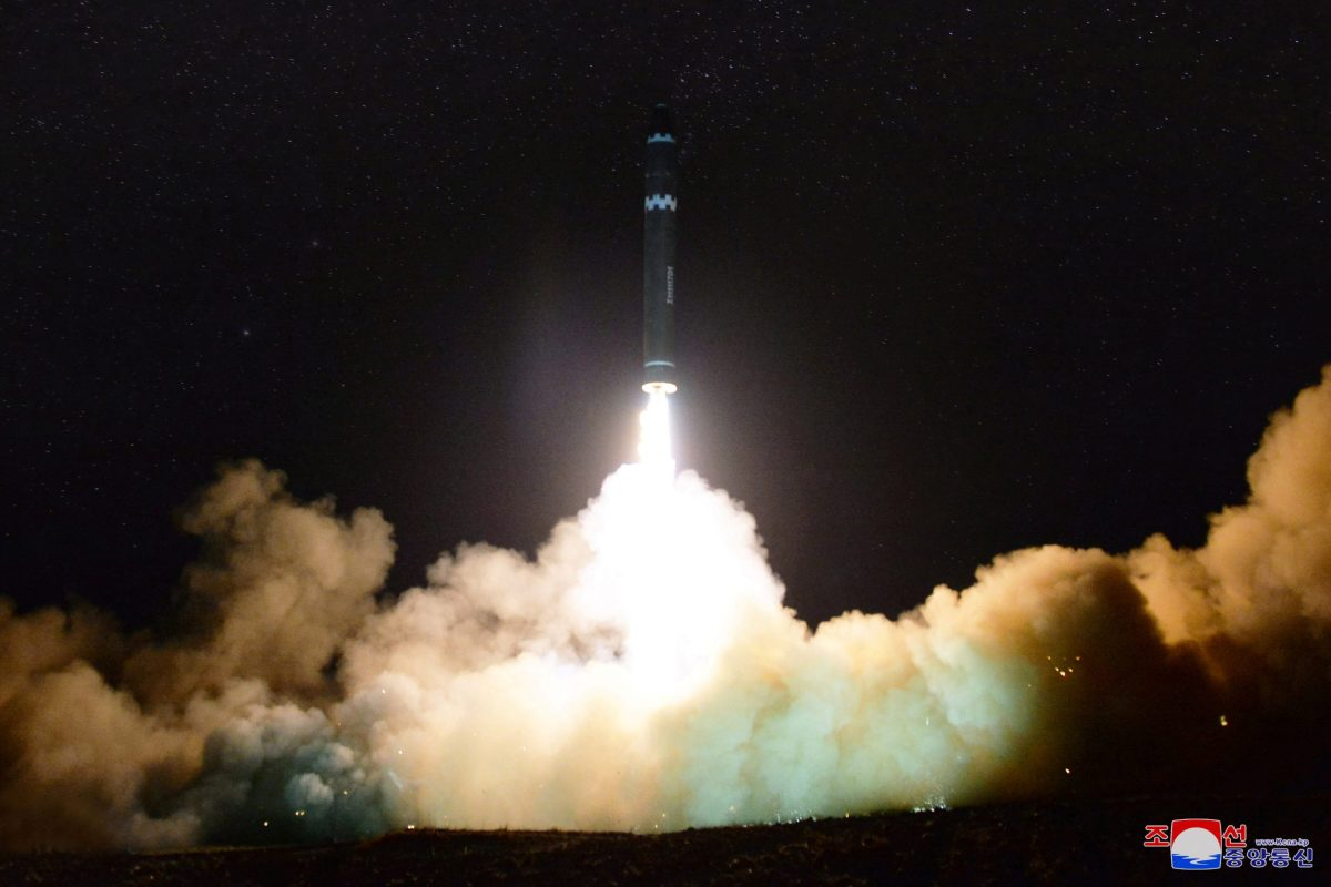 A view of the newly developed intercontinental ballistic rocket Hwasong-15's test. Photo: Reuters via KCNA