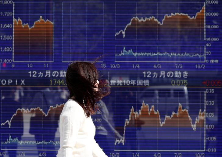 A woman walks past an electronic board showing the movements of Japan's Nikkei average outside a brokerage in Tokyo, Japan, on October 23, 2017.  Photo: Reuters / Issei Kato