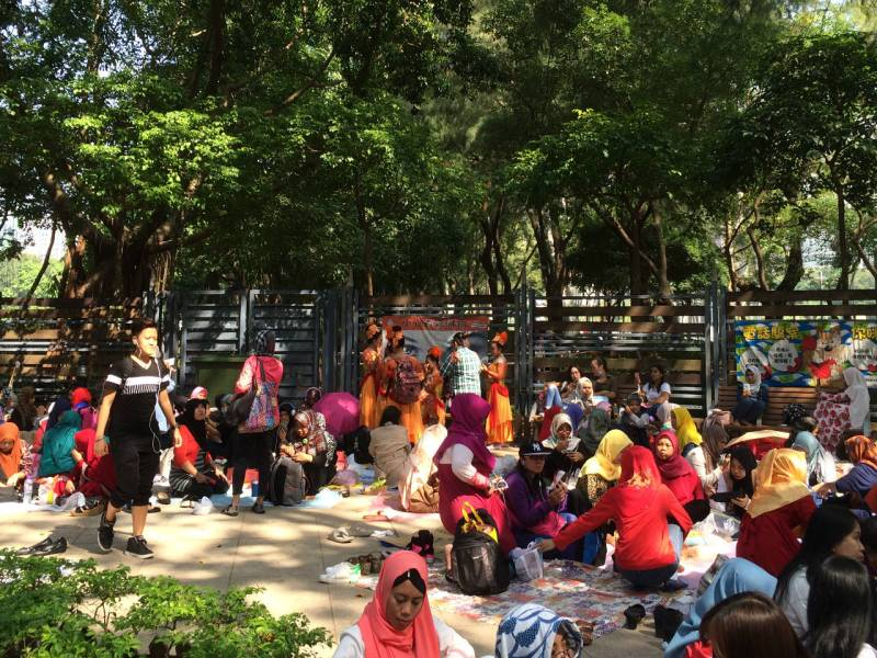 Indonesian domestic workers gather in Victoria Park in Causeway Bay. Photo: Asia Times