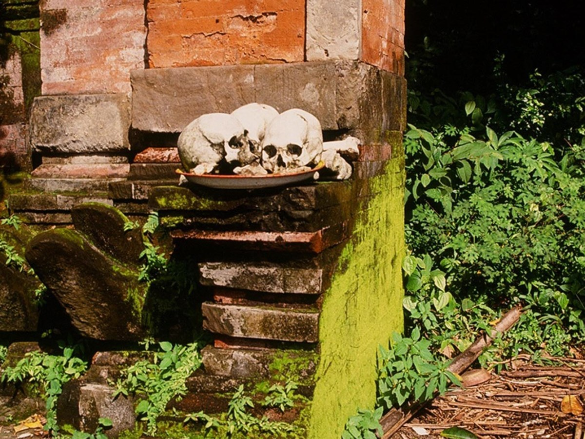 A plate of skulls where visitors can leave donations for grave maintenance. Photo: David DeVoss