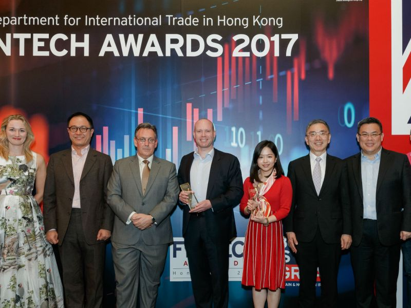 Jenny Wong of SenseTime (fourth from right) and Stephen Carney of Quintain Analytics (fifth from right) won the Grand Prizes at the DIT Hong Kong FinTech Awards 2017. Photo: British Consulate General Hong Kong