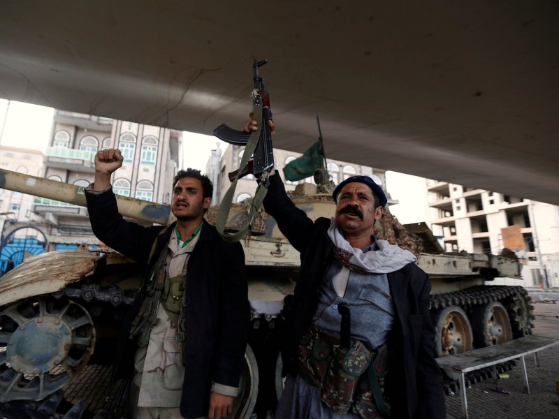 Houthi fighters react after Yemen's former president Ali Abdullah Saleh was killed, in Sanaa on December 4, 2017. Photo: Reuters / Khaled Abdullah