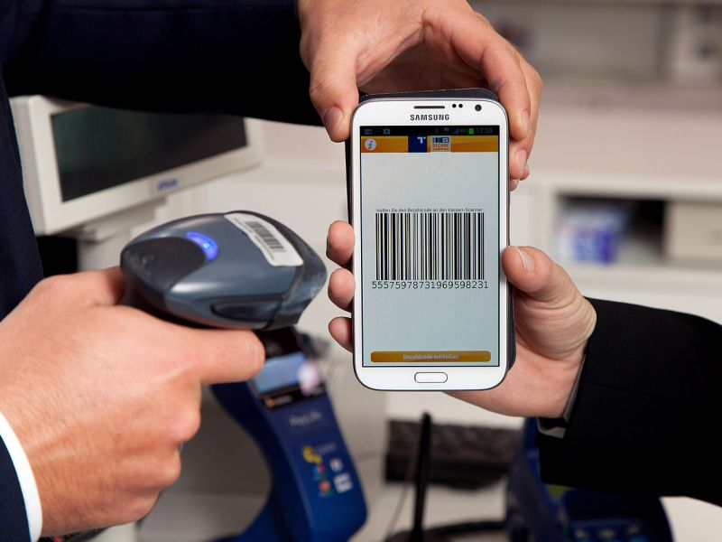 A mobile payment being made using the QR barcode system. Photo: Wikimedia Commons
