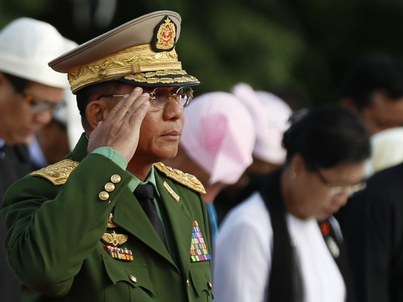 Commander-in-Chief of the Myanmar Defense Services Senior General Min Aung Hlaing attends a ceremony to mark the 69th Martyrs' Day in Yangon, Myanmar, July 19, 2016. Photo: AFP via Mur Photo/U Aung