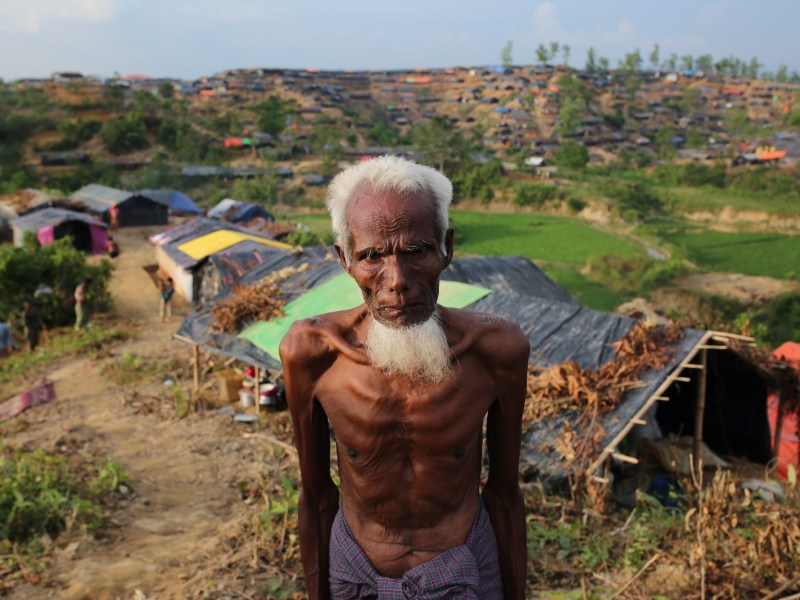 A Rohingya man who fled oppression during military operations in Myanmar's Rakhine state at a makeshift camp in Teknaff, Bangladesh on September 26, 2017. Photo: Anadolu Agency via AFP/ Zakir Hossain Chowdhury