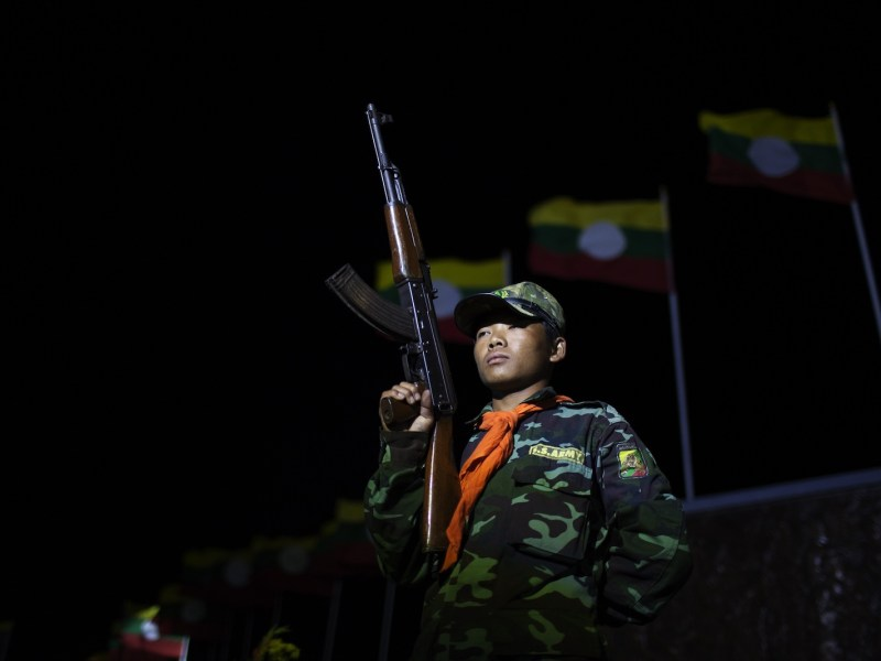 A Shan State Army-South soldier stands guard outside the insurgent group's headquarters ahead of the Shan National Day in Loi Tai Leng, in Myanmar's northeastern Shan State. Photo: AFP/KC Ortiz