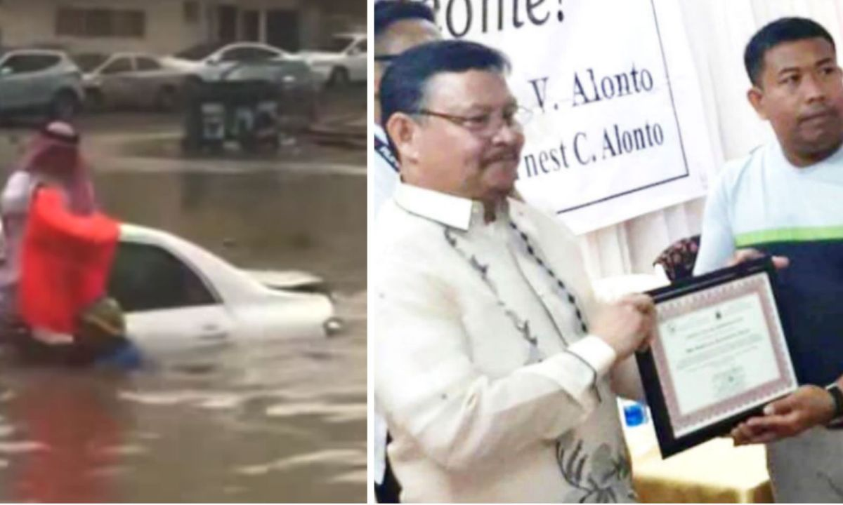 Left: Balindong hands a lifejacket to the trapped man before carrying him from his car. Right: He shows the award he was given at the Philippine Embassy in Riyadh. Photo: Embassy of The Philippines in Saudi Arabia