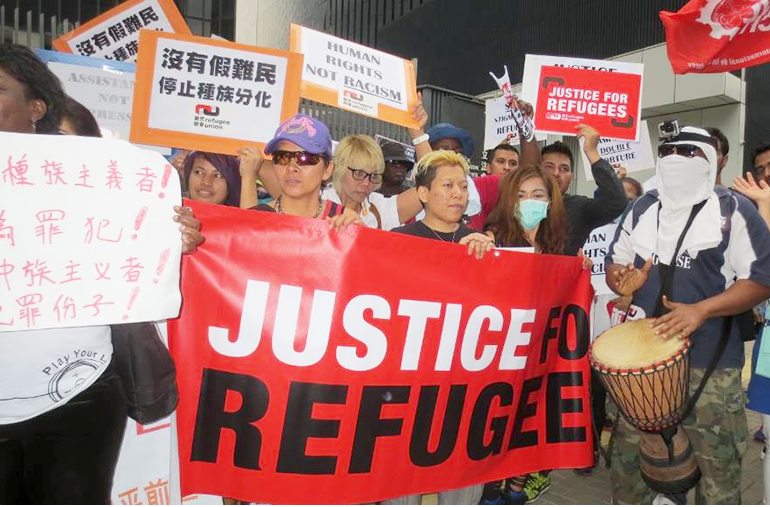 Refugees and asylum seekers take part in a protest in Hong Kong. Photo: Handout