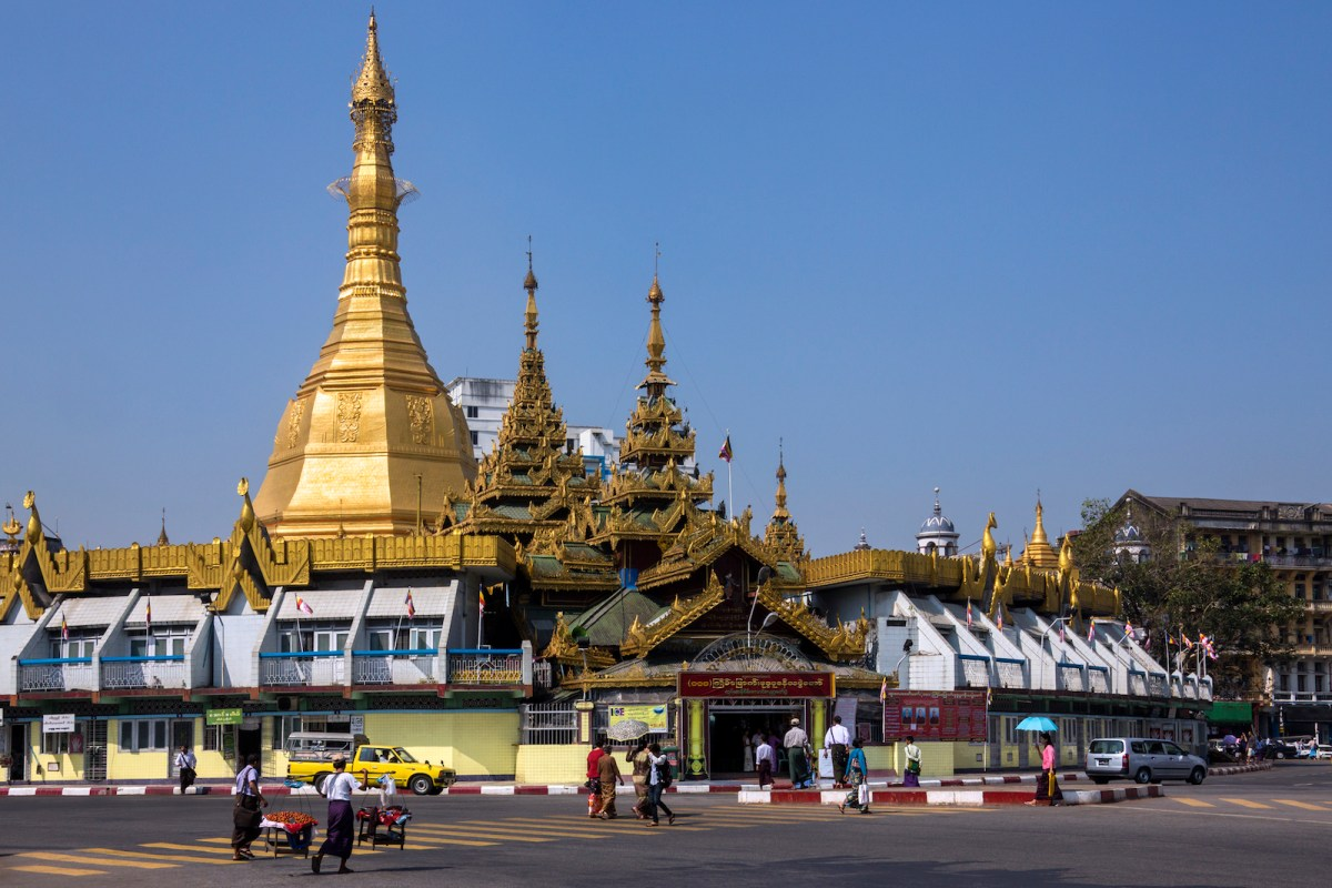 The Sule Pagoda is a stupa in the heart of downtown Yangon. It is in the center of the city and an important space in contemporary Myanmar politics, ideology and geography. Photo: iStock