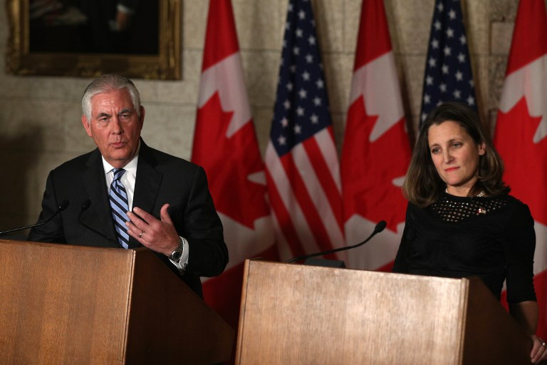 Canada's Minister of Foreign Affairs Chrystia Freeland and US Secretary of State Rex Tillerson. Canada and the United States announced during Tillerson's December visit they will host a summit of foreign ministers to seek progress on the North Korean nuclear crisis. Photo: Reuters / Lars Hagberg