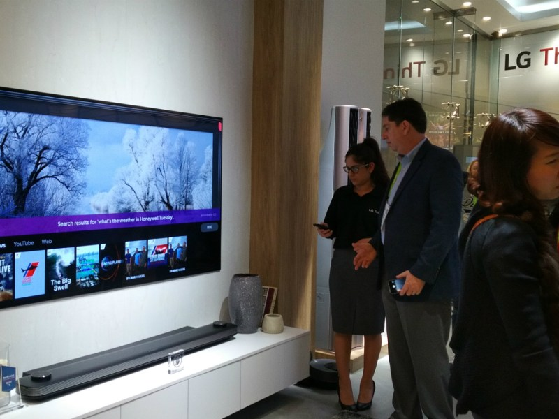 LG's state-of-the-art OLED TV with ThinQ artificial intelligence, bringing the control of fridge, air purifier and robot vacuum cleaner altogether by voice. Photo: Asia Times