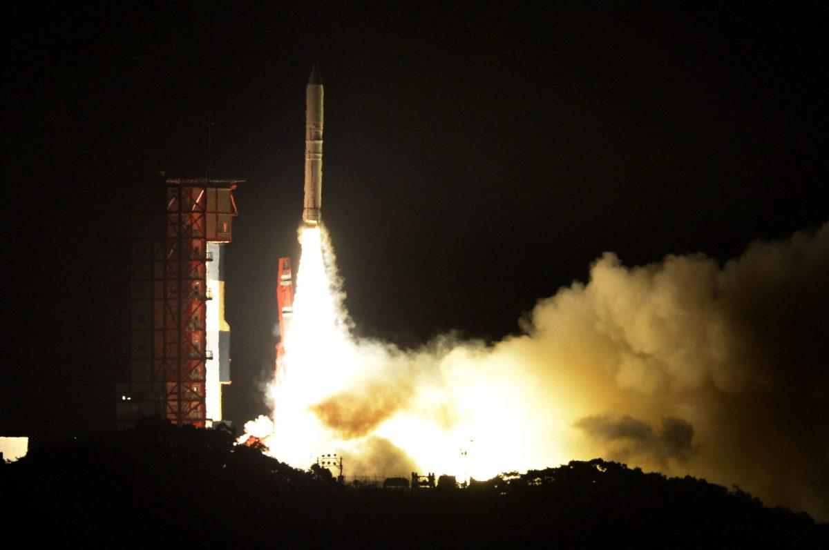 Japan's solid-fuel rocket, Epsilon-3, launches at the Uchinoura Space Center in Kimotsuki, Kagoshima Prefecture, Japan. Photo: Kyodo via Reuters