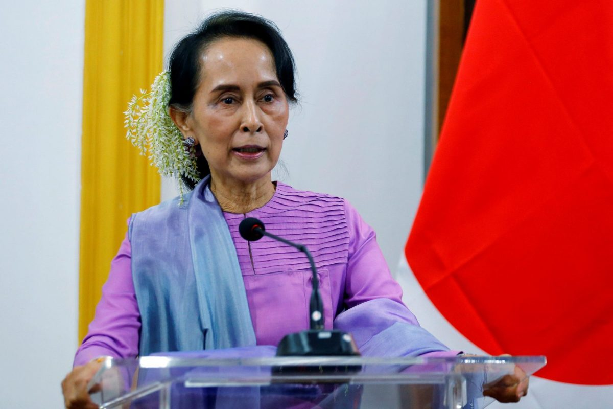 Myanmar's leader Aung San Suu Kyi speaks during a news conference with Japanese Foreign Minister Taro Kono in Naypyidaw, Myanmar January 12, 2018. Photo: Reuters/Stringer